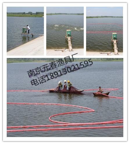 """""""充气浮网""""的原理是在鱼网的中间水域的水下和水面分别安装500w节能灯"""