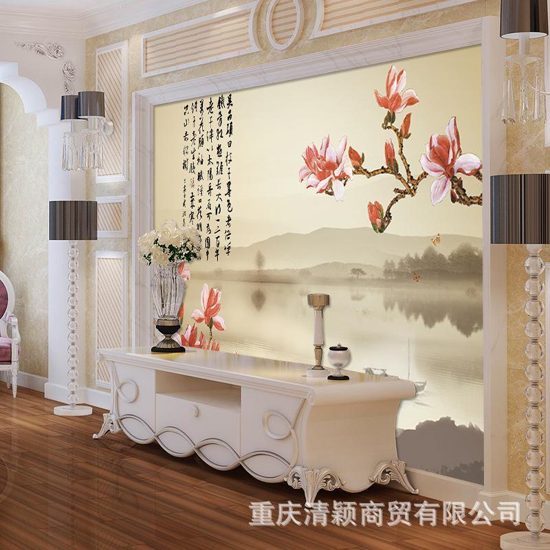 中式粉花玉兰花卉 无纺布墙布图片