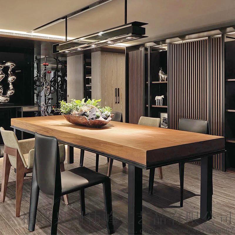 厂家直销订制批发长方形复古桌星巴克餐饮家用餐桌美式实木餐桌椅桌椅图片