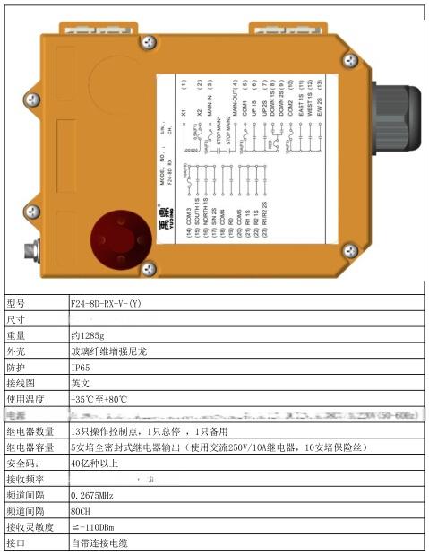 台湾禹鼎8路双速工业遥控器/f24-8d/双梁起重机遥控器