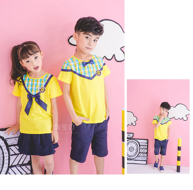 护岛宝贝夏季新款幼儿园园服定制儿童连衣裙女童可爱班服套装