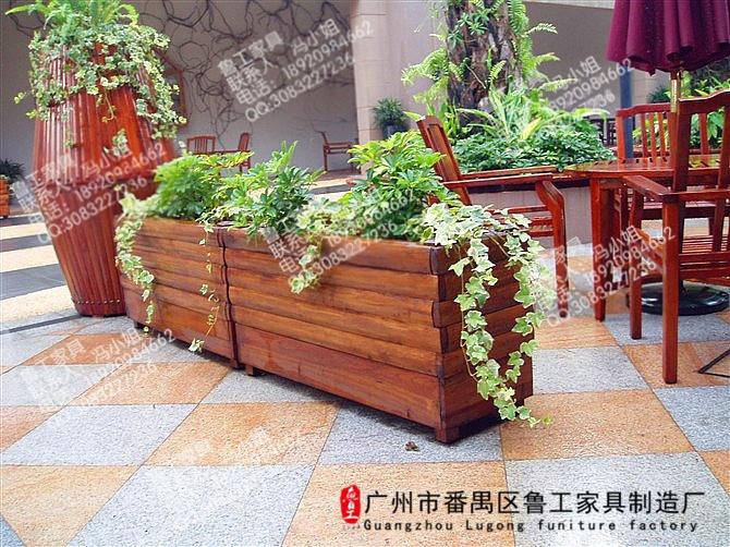 户外景观防腐木花箱 木质花盆
