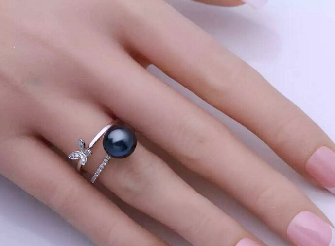 18k戒指珍珠镶嵌钻石