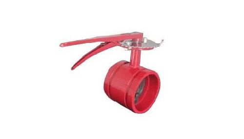 手柄沟槽信号蝶阀采用蜗轮,蜗杆传动,随之凸轮转动按预定位置将信号图片