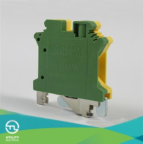 尤提乐供应接地端子jut1-6pe 6平方黄绿色轨道式接线端子