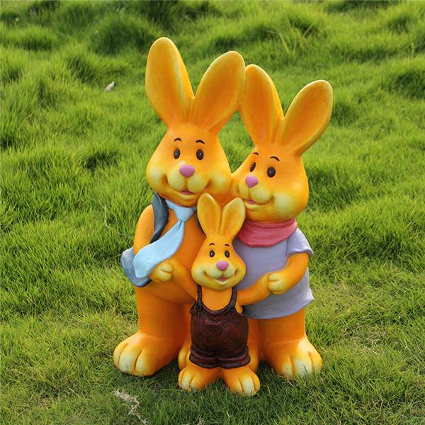 玻璃钢树脂工艺品中号动物吉祥物幸福卡通兔子一家亲