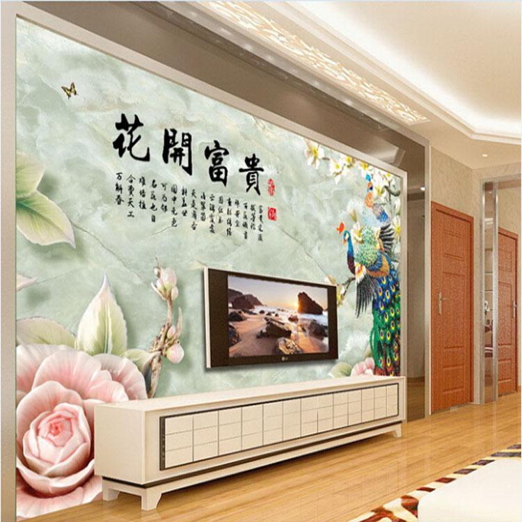 3d仿玉石高清大型电视背景墙壁画
