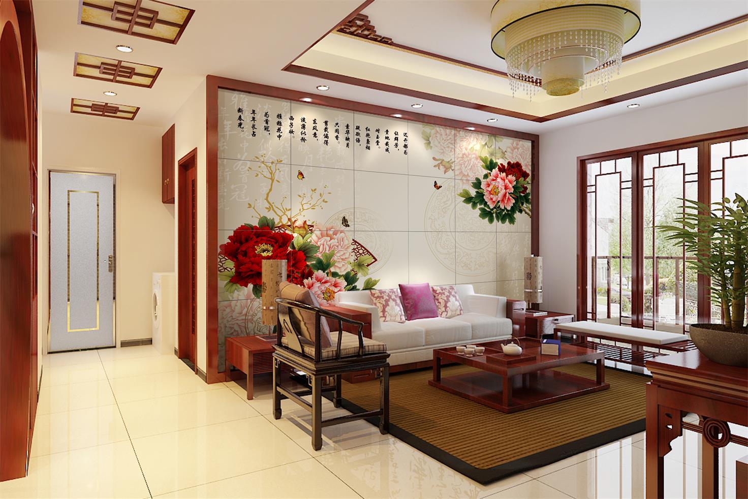 定制彩虹石品牌中式客厅电视 背景墙 瓷