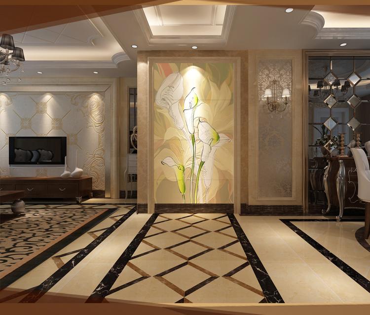 彩虹石品牌进门入户走廊玄关背景瓷砖墙迎家具门墙过道瓷砖画永兴壁画台湾图片