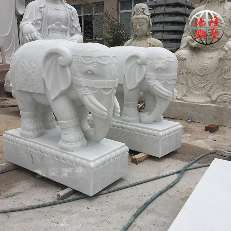 厂家供应石雕大象 吉祥招财小象 汉白玉门口大象 动物雕刻
