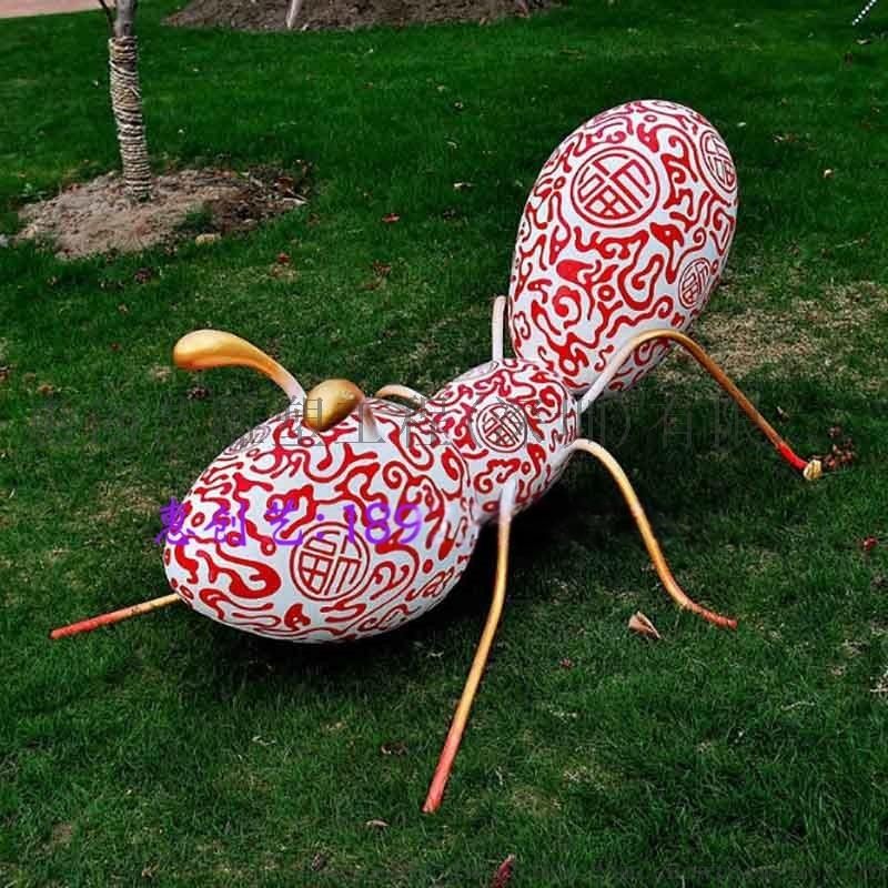 玻璃钢蚂蚁雕塑游乐场装饰 彩绘蚂蚁模型仿真昆虫动物