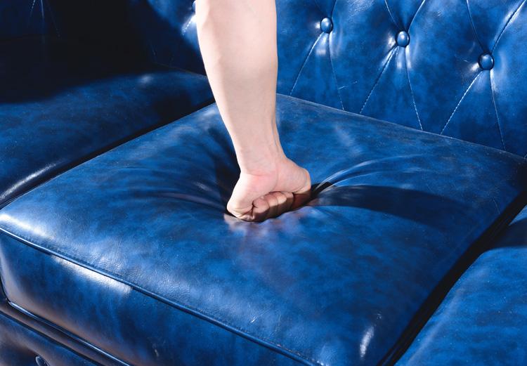 深蓝色真皮新古典后现代拉扣沙发小户型欧式复古二人