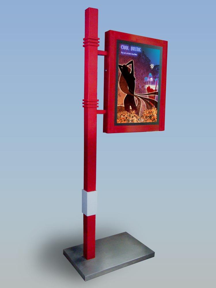 新款户外站立广告灯箱 立柱灯箱 灯杆灯箱 可来图定制图片