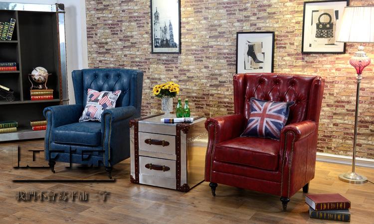 美式单人皮沙发欧式真皮牛皮高背椅书房卧室客厅样板房拉扣老虎椅图片