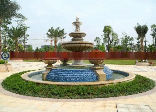 中式喷泉手绘图