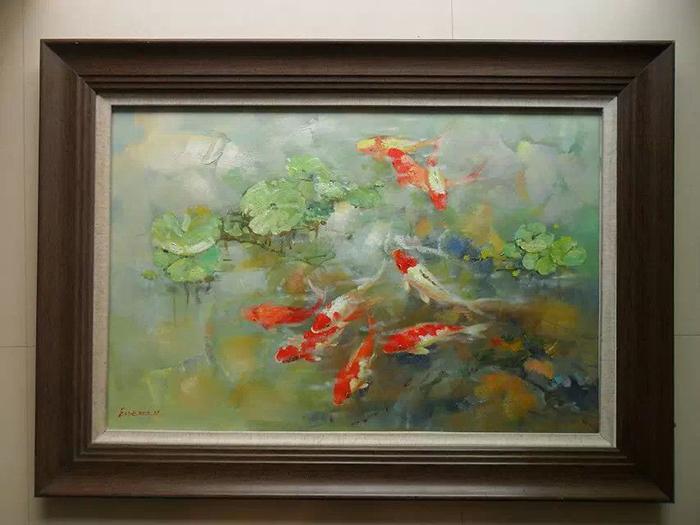 雅佳纯手绘油画动物油画印象油画九鲤图3家居装饰油画