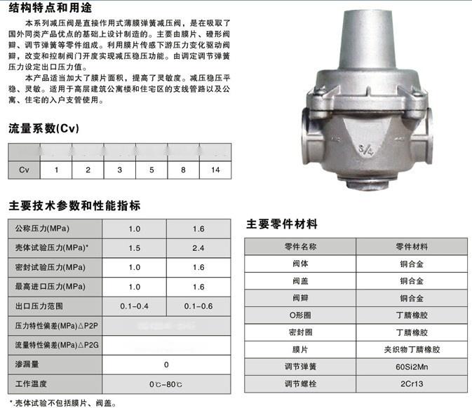 永嘉县捷泰阀门yz11x不锈钢支管减压阀主要用于各种建筑给水系统,消防图片