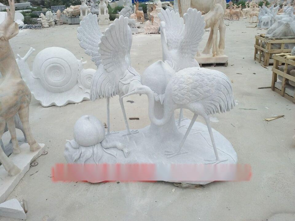 供应 松鹤石雕 丹顶鹤雕塑 园林别墅动物石雕摆件