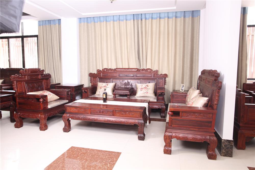 红木厂家/山东哪里买红木沙发好/阔叶黄檀沙发价格/东阳红木家具市场