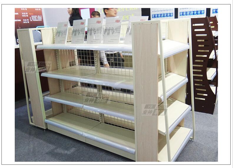 业神制造 新品高档钢木超市货架展示架便利店货架母婴双面中岛架
