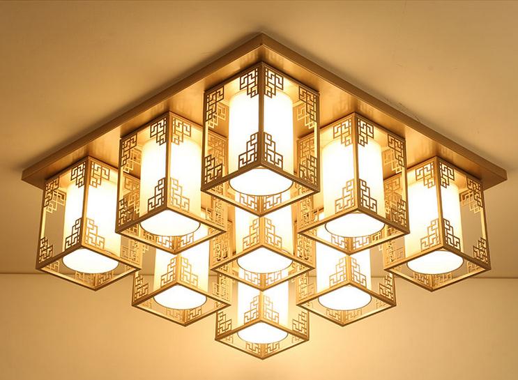 中式木头灯 羊皮灯 布艺灯图片