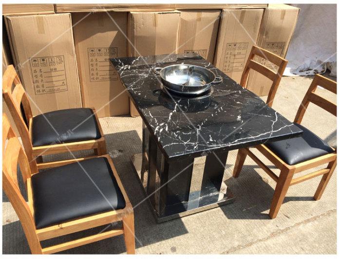 厂家直销大理石火锅桌椅韩式无烟自助烧烤桌烤肉桌定做批发