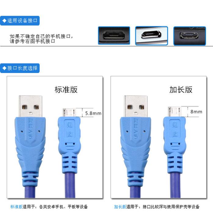 供应深蓝大道安卓数据线 micro usb接口数据线