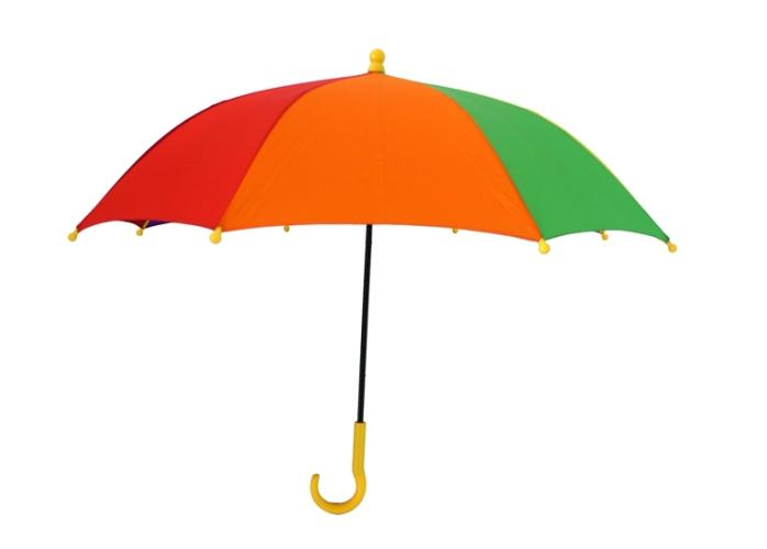 颜色七彩虹直杆儿童雨伞厂家价格 创意外贸多颜色七彩虹直杆儿童雨