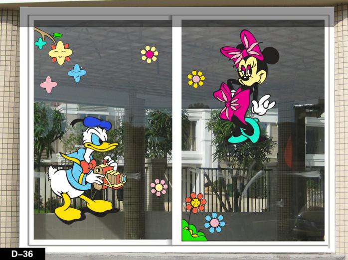 揭阳幼儿园大门窗户玻璃装饰双面贴纸/广州彩趣窗艺