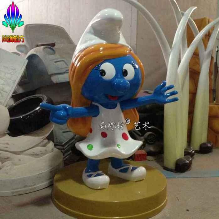 蓝精灵蓝爷爷造型玻璃钢卡通人物雕塑摆件工艺品