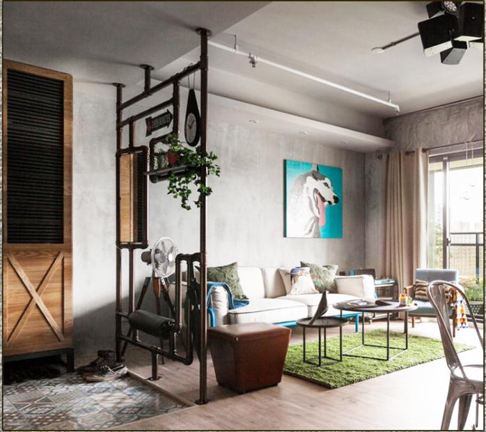 广州创客美式工业风铁艺水管客厅落地隔断屏风创意展示置物架餐厅镂空图片