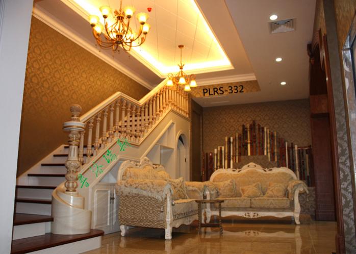 欧式风格楼梯一般是用大理石踏步配搭实木栏杆造型图片