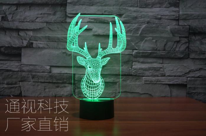 2016新奇特鹿头创意礼品灯 个性定制礼物 3d七彩立体视觉灯图片