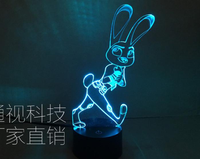 外贸新款疯狂动物城兔子狼子野心意led七彩3d视觉
