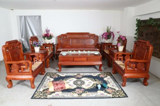 东阳红木家具批发国色天香沙发非洲花梨缅花
