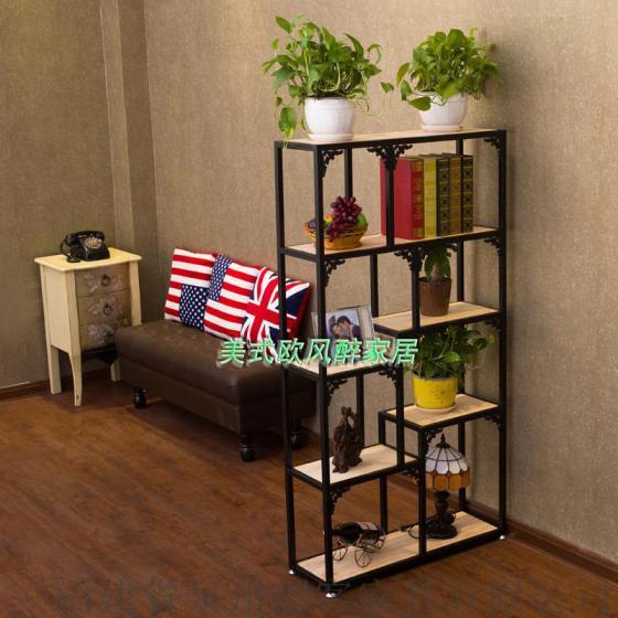 湘江创客创意书架置物架客厅隔断层板铁艺展柜饰品架