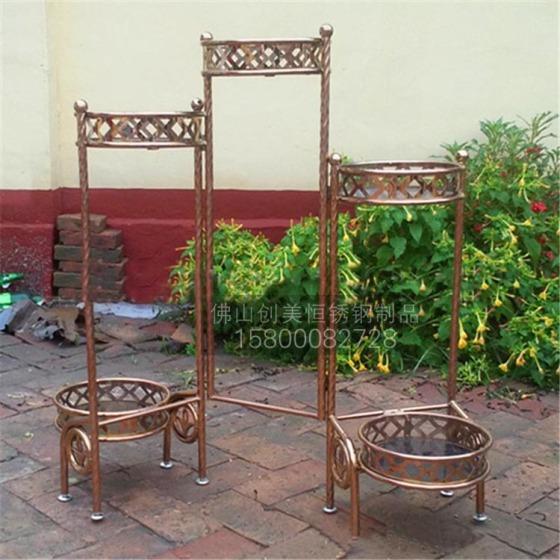 定制酒店不锈钢花架 钛金不锈钢花盆架 美观耐氧化 耐图片