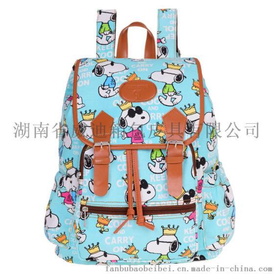 可爱卡通史努比中学生书包休闲帆布双肩包女包2015