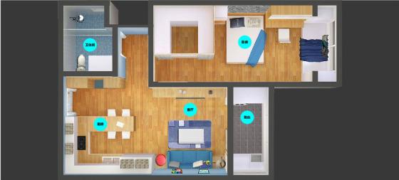 建筑和装饰材料 工程承包 装潢设计 猫舍一居一厅智能整装 适用于建筑
