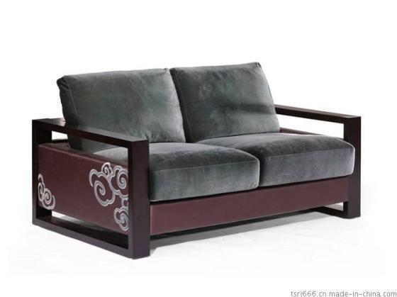 新中式酒店沙发 新中式别墅沙发 会所新中式风格定制印花布艺沙发图