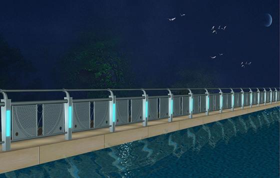 贵州贵阳六盘水景麒不锈钢河道护栏桥梁防撞灯光护栏放心省心图片