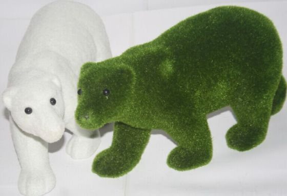 植毛仿真5mm白色绿色毛长动物熊