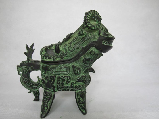 商代 羊觥 古代酒器 当代工艺品摆件 家居装饰婚庆影视道具 广发青铜