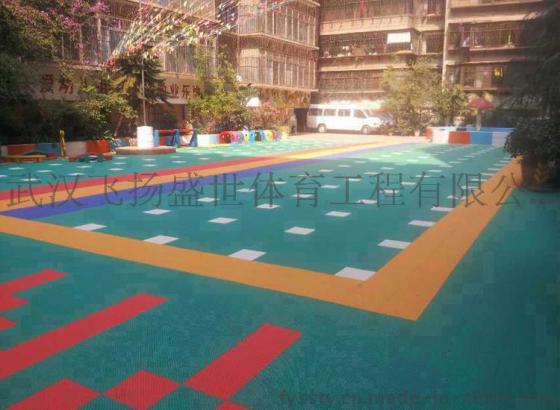 汉悬浮拼装运动地板 双层米字纹2代 室外篮球场地运动地板 排球场地