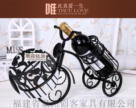 天津创客莎芮欧式铁艺红酒架复古单车造型酒柜装饰品
