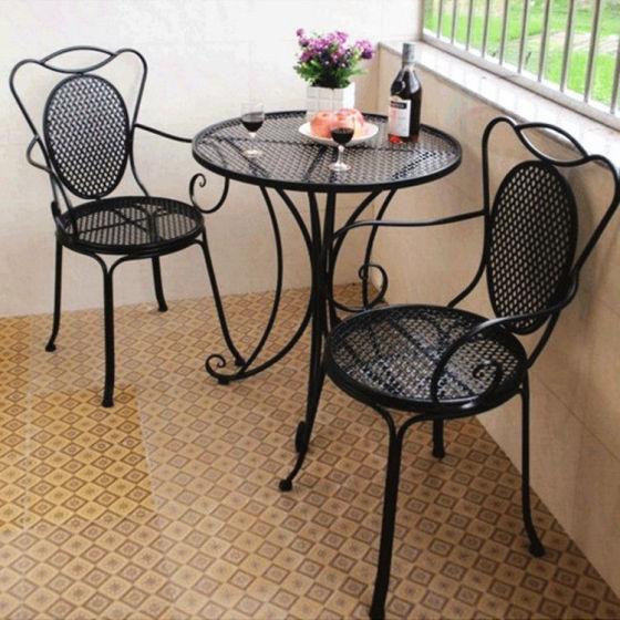 欧式铁艺客厅创意茶几 户外阳台咖啡厅金属休闲桌椅组合