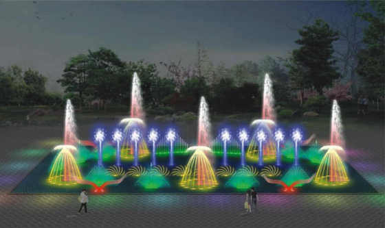 城市广场程控音乐喷泉 旱喷长方形音乐喷泉