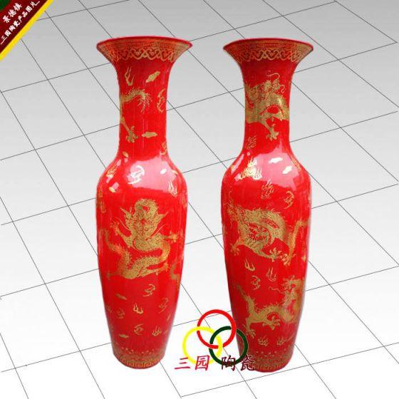 景德镇中国红精品大花瓶图片,景德镇中国红精品大花瓶高清图片 景德