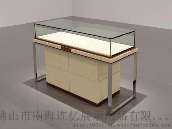 服装展示用品 服装陈列架或中岛架 不锈钢边框中间木质纹理烤漆箱柜