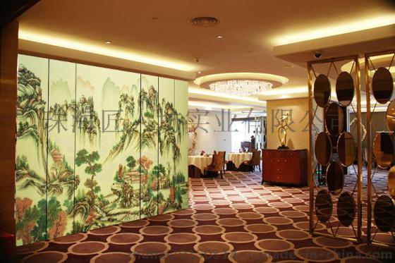4扇实木屏风隔断手绘山水名画中式古典餐厅书房折屏 落地屏风定制